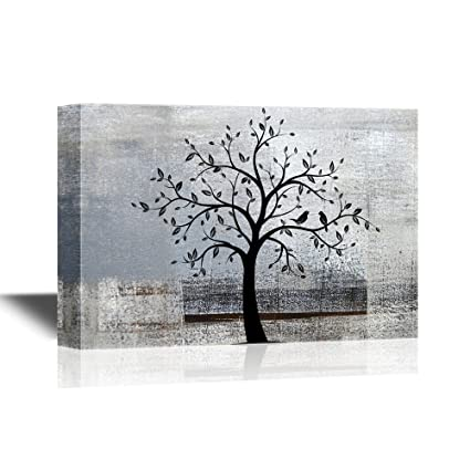 e719439c72d wall26 Abstract Tree Canvas Wall Art - Black Tree Branch with Leaves and  Birds on Grey