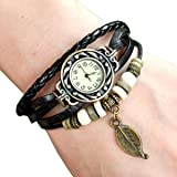 Femme Mode Watch Retro Montre Bracelet PU Cuir Quartz Perle TressE Retro Bijoux Decor Wrist Watch