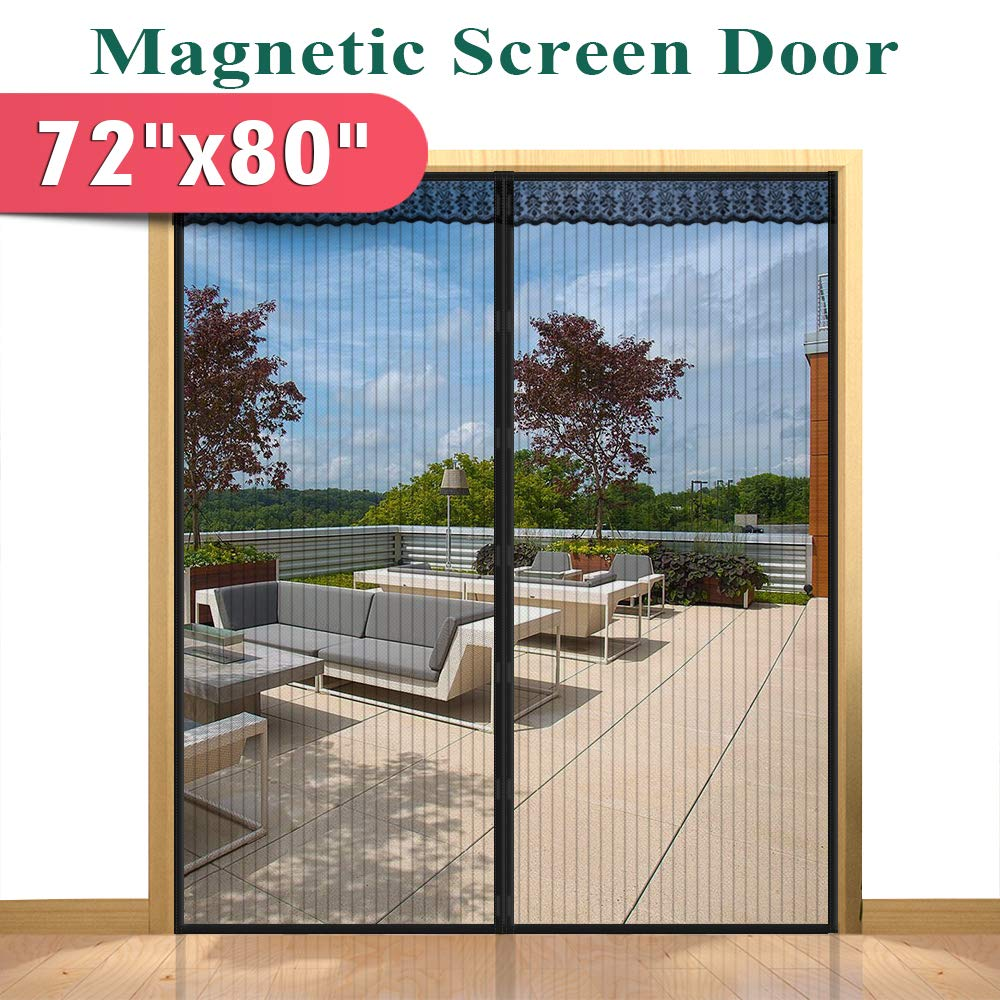 72''(w) x 80''(h) Hands Free Magnetic Screen Door for Sliding French Doors, Full Frame Double Door Hook & Loop Bug Screen Mesh Curtain Keep Bugs Mosquitos Out,Black by Mkicesky