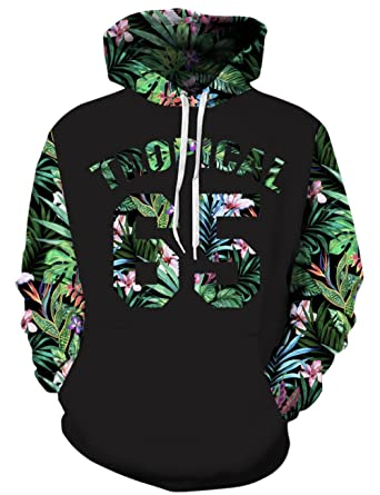 f70e21edcabf Goodstoworld 90s Unisex Tropical 65 Floral Weed Hoodie 3D Digital Graphic  Print Cool Awesome Drawstring Pocket
