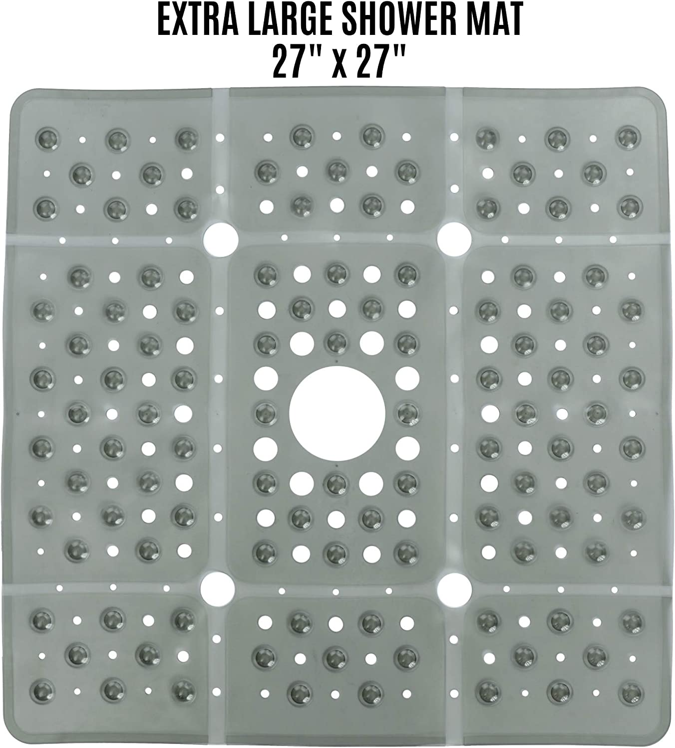 Extra Large Square Shower Mat Provides 65/% More Coverage /& Non-S