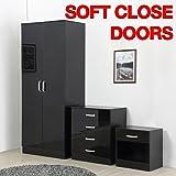 Gladini High Gloss 3 Piece Bedroom Furniture Set - Includes Wardrobe, 4 Drawer Chest, Bedside Cabinet (Cream/Oak)