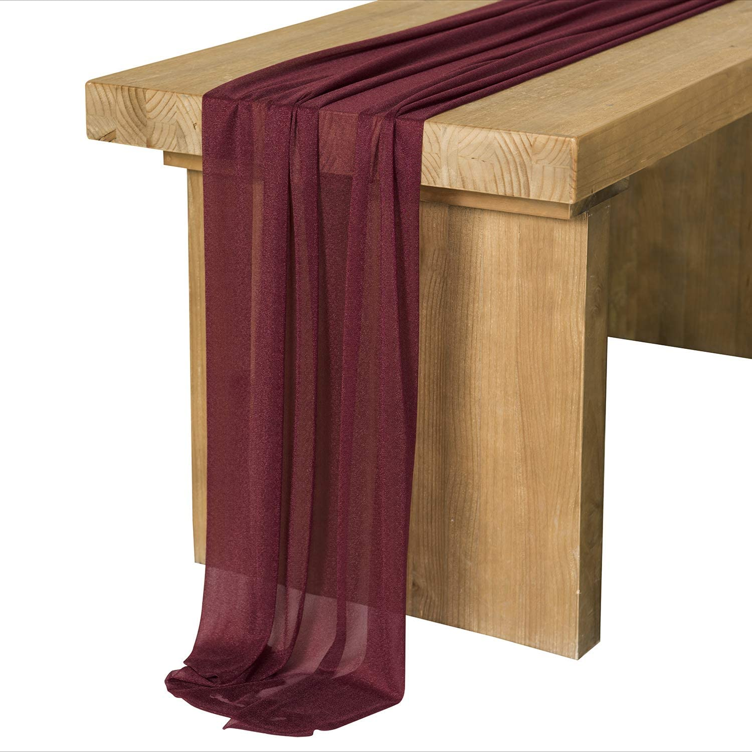 Ling's moment 10Ft Burgundy Sheer Table Runner for Rustic Boho Wedding Party Bridal Shower Decorations