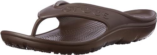 Boys Green//Brown Light Weight Slip On Toe Post Crocs Athens