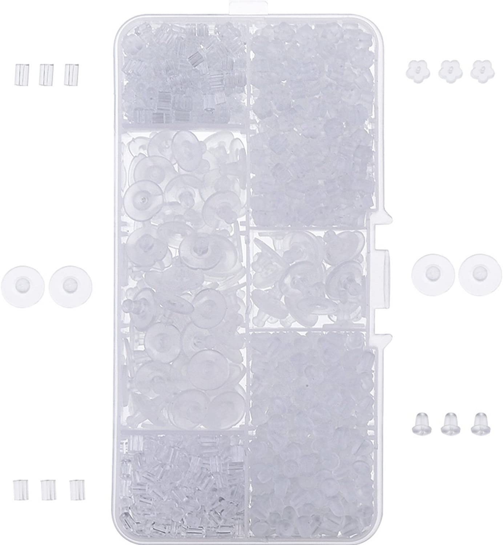 1000 Piezas Tapones de Pendiente de Goma Topes de Espalda de Seguridad de Pendiente, Transparente