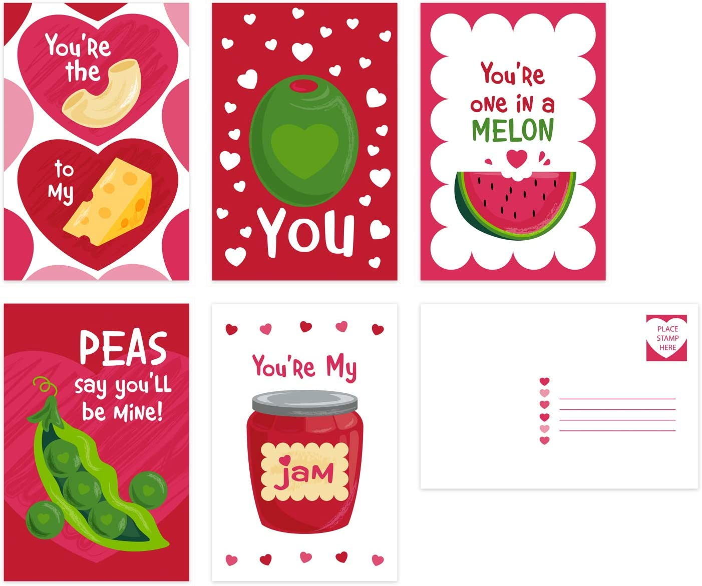 Valentine Food Pun Postcards / 25 Post Card Pack 4