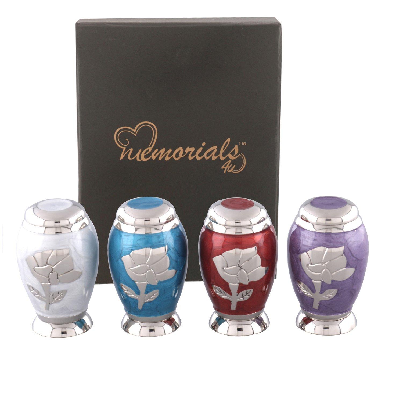 Modesty Rose Keepsakes Urns Set of 4 - Keepsake Urn - Token Urns - Handcrafted and Affordable Mini Urns for Ashes
