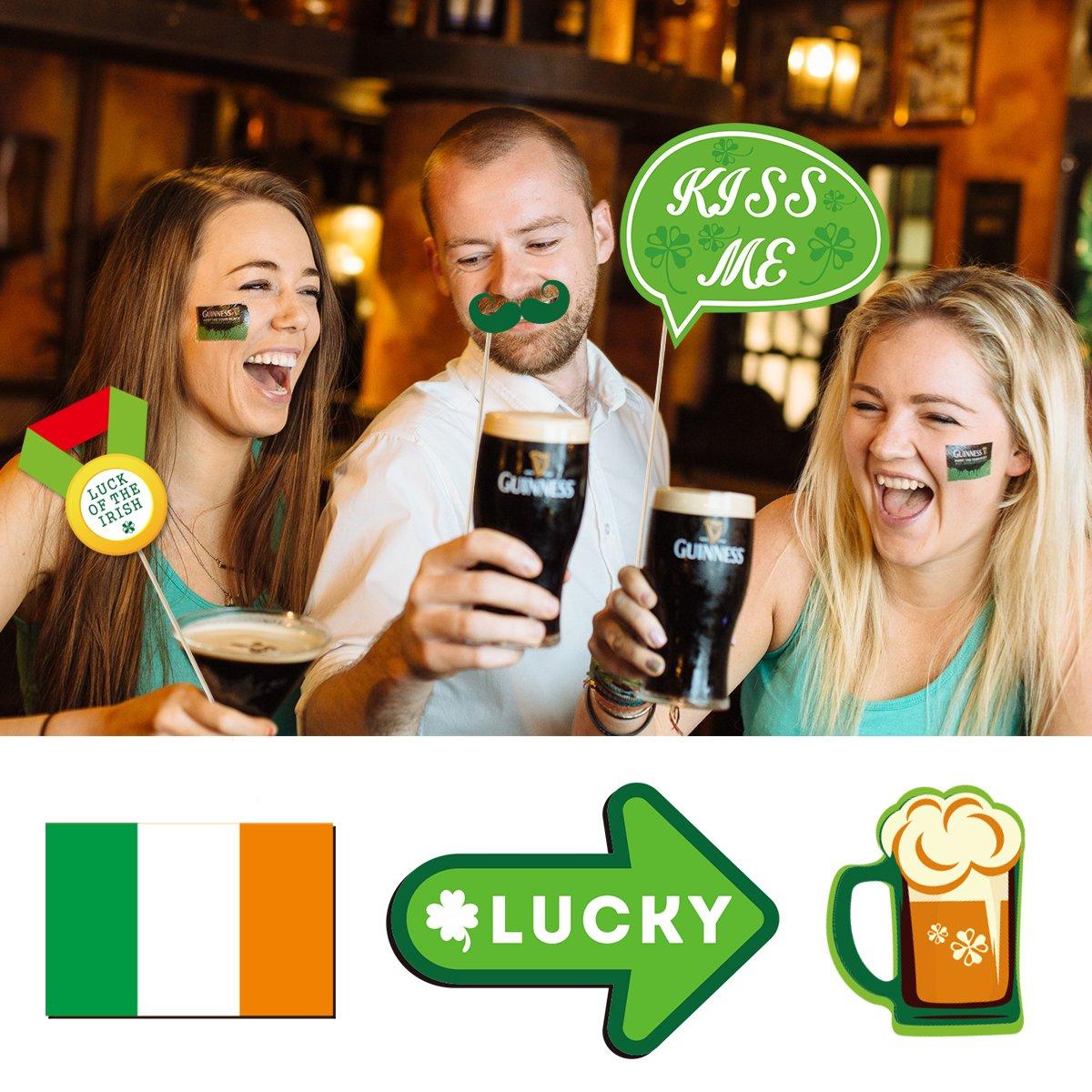 BESTOYARD St Patricks Photo Booth Props Feliz D/ía de San Patricio Decoraciones para fiestas Irland/és Shamrock Bigotes Gafas Tie Festival de la cerveza Apoyos Irland/és Decoraciones para fiestas 34PCS