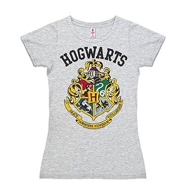 124d3fa7 Logoshirt Harry Potter - Coat Arms - Gryffindor - Hufflepuff - Ravenclaw -  Slytherin - Hogwarts Logo Short Sleeve T-Shirt Women - Heather Grey -  Licensed ...