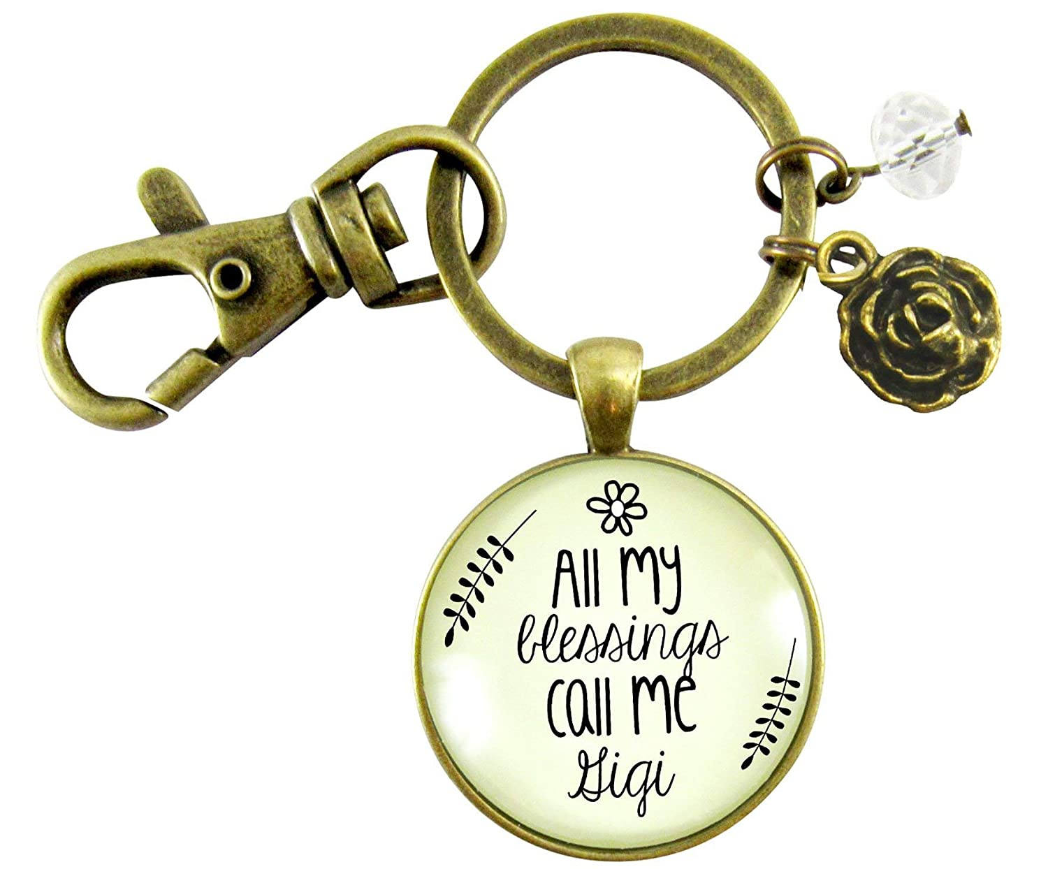 Gigi Keychain All My Blessings Call Me GG Gift Quote Womens Grandma Jewelry Blessed Life Card Flower Charm