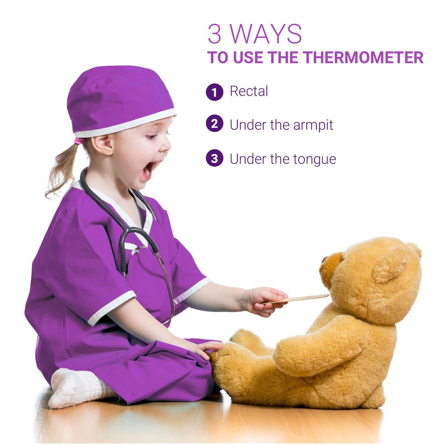 Baby Digital Thermometer - For Infants, Babies, Kids - 30 Seconds Read - FDA CE Approved - Flexible Tip - Waterproof - Extra Battery Included - Clinical Fever Alarm - Rectal Under The Arm/Tongue by Purple Safety (Image #5)