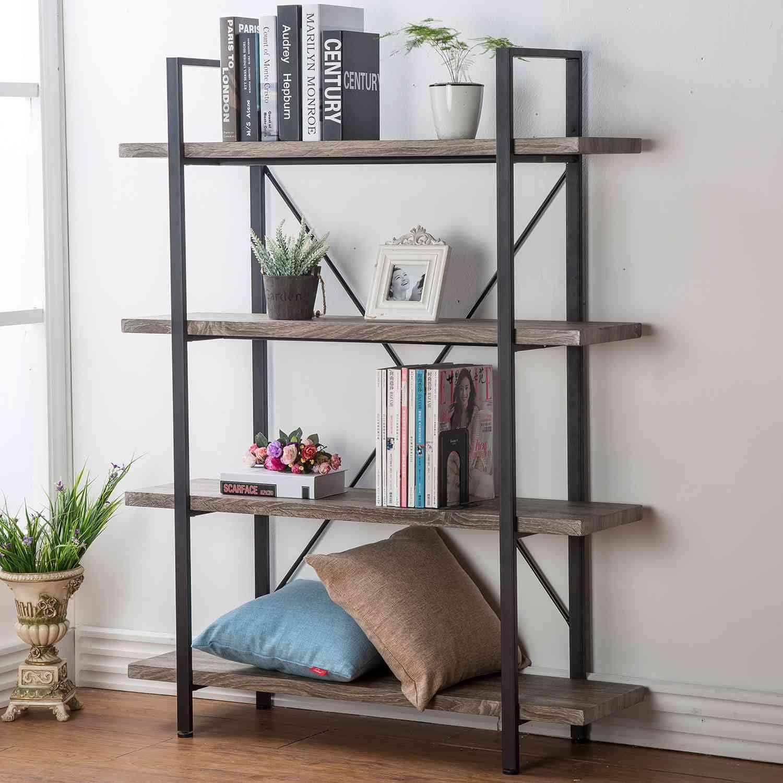 Amazon.com: HSH 4-Shelf Vintage Industrial Bookshelf, Rustic Wood ...