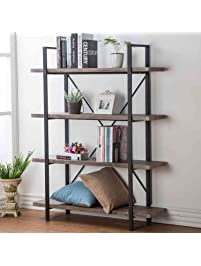Office Book Shelf. Hsh Furniture 4 Shelf Vintage Industrial Bookshelf,  Rustic Wood And