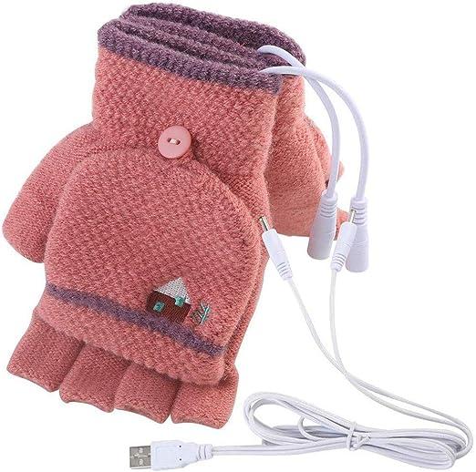 1Pair Grey Unisex Knitting Plush Winter Fingerless USB Powered Laptop Computer Glove Heating Hands Warm Half Finger Gloves Heated Warmer Mitten Heat Chip and Gloves are Separate