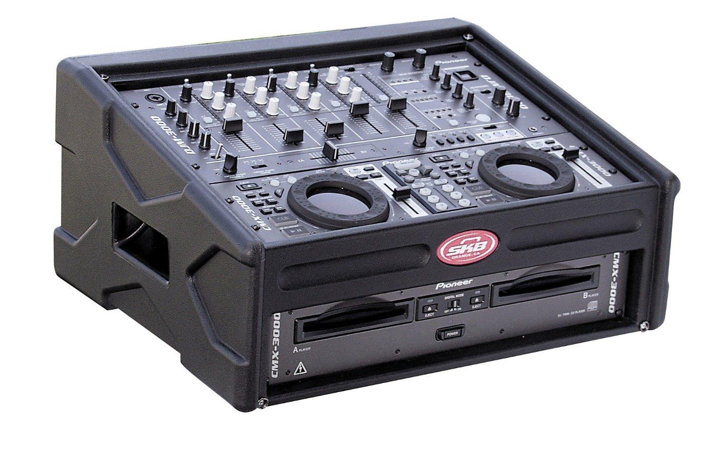 SKB DJ Capsule: Roto-Mold Shell, 8U Slant Top rack, 2U Front Rack, Wood Reinforced Soft Nylon Cover