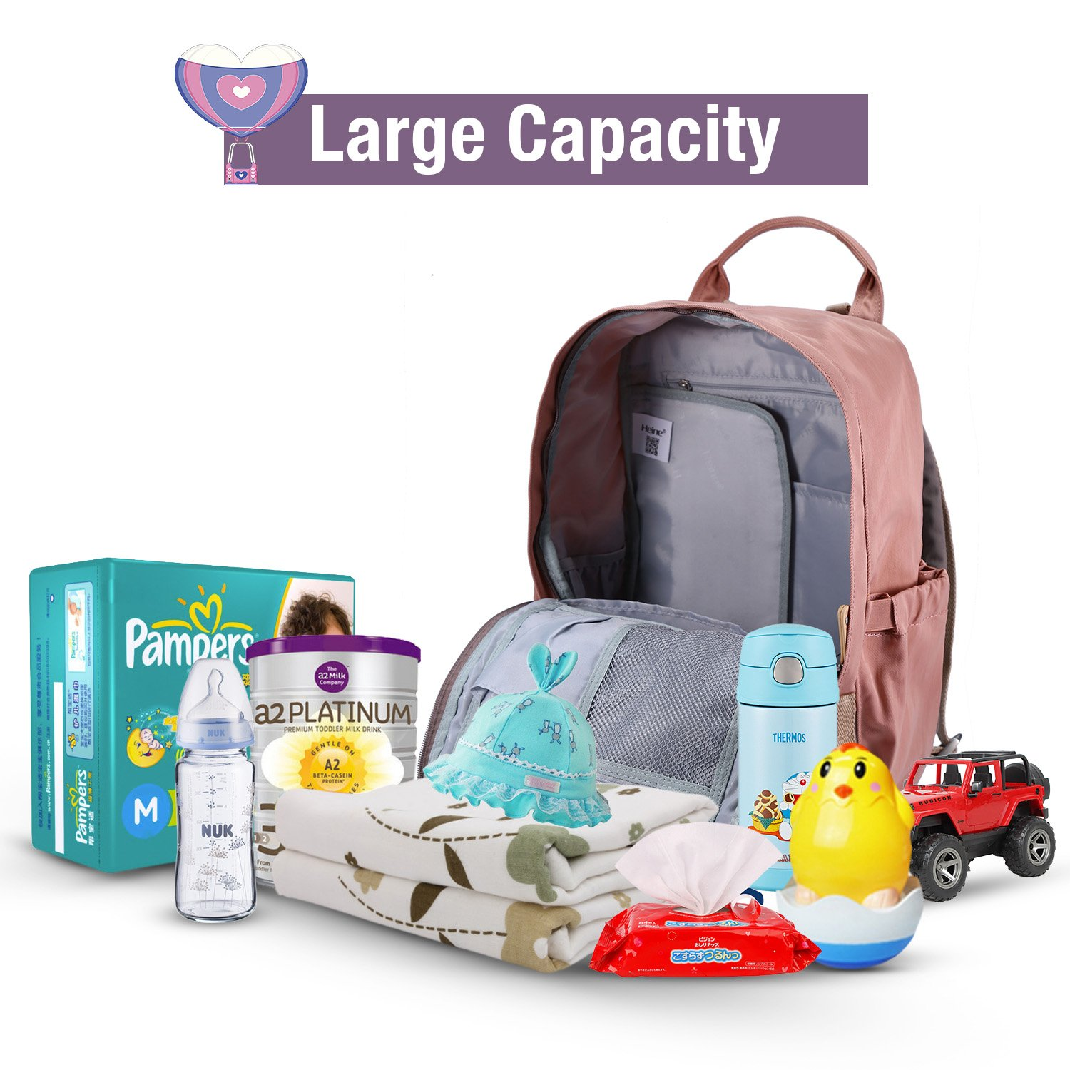 Diaper Backpack Multi-Function Diaper Bag Mother Bag Backpack Nappy Bag with Insulated Bottle Pockets,Large Capacity Waterproof Mummy Handbag Traveling Backpack(Pink)