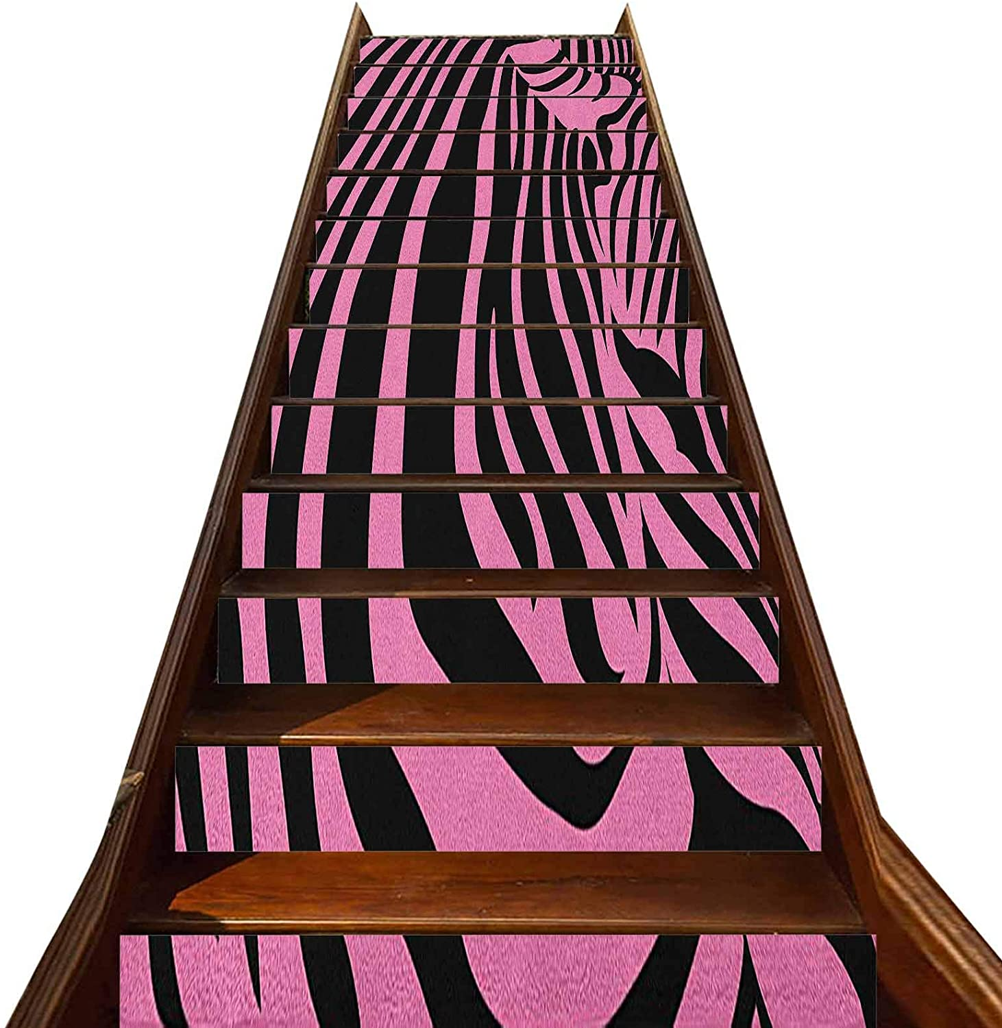 3D Pink Zebra Stair Stickers Decals-13Pcs/Set,Vibrant Background Zebra Skin Artistic Avant Garde Tribal Punk Indie Wild Stair Treads Decals Removable Staircase murals,for Stair Sticker Home Decor