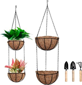 "4Pack Metal Hanging Flower Baskets with Coco Coir Liner, Round Wire Plant Holder Wall Hanging Planter Baskets, Included 3 Mini Shovels for Indoor Outdoor Garden Porch (2Pack-8"" + 2Pack 10"")"