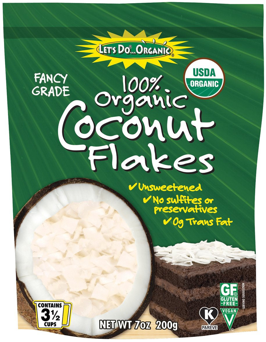 Let's Do Organic Unsweetened Coconut Flakes, Food Service Size, 25 Pound Bag, 400 Ounce