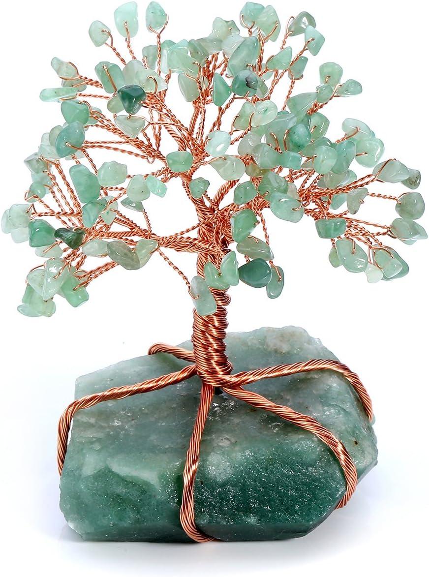 JSDDE - Piedras naturales de cristal con forma de árbol de la vida, reiki, curación del dinero, decoración de piedras preciosas Feng Shui, vidrio, Aventurina verde