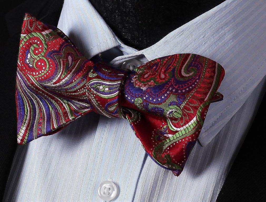 HISDERN Mens Paisley Floral Jacquard Wedding Party Self Bow Tie /& Pocket Square Set