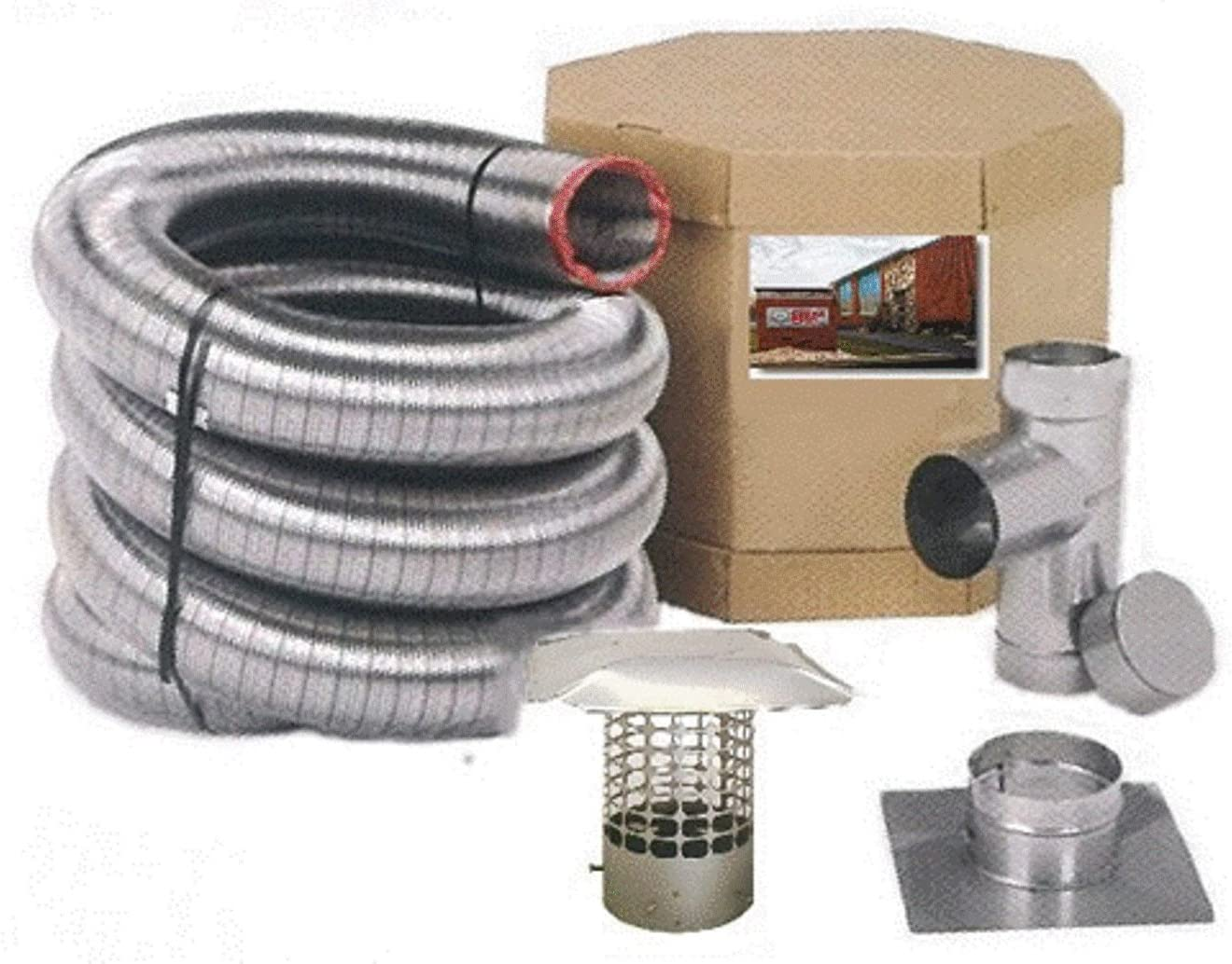 Forever Vent SW440SSK SmoothWall Double Ply Stainless Steel Chimney Liner Kit, 4-Inch x 40-Feet
