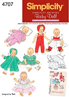product image for Simplicity 4707 Vintage Baby Doll Clothing Sewing Patterns for Girls by Teri, A (S-L)