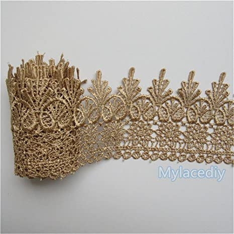 1 Yard Coffee Flower Embroidered Lace Trim Ribbon Wedding Applique Sewing Craft