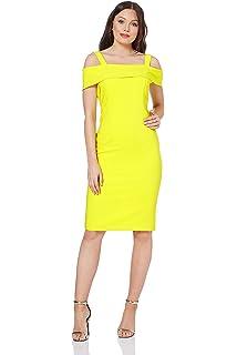e40efa3f26cb Roman Originals Women Cold Shoulder Scuba Dress - Ladies Bardot  Off-The-Shoulder Knee