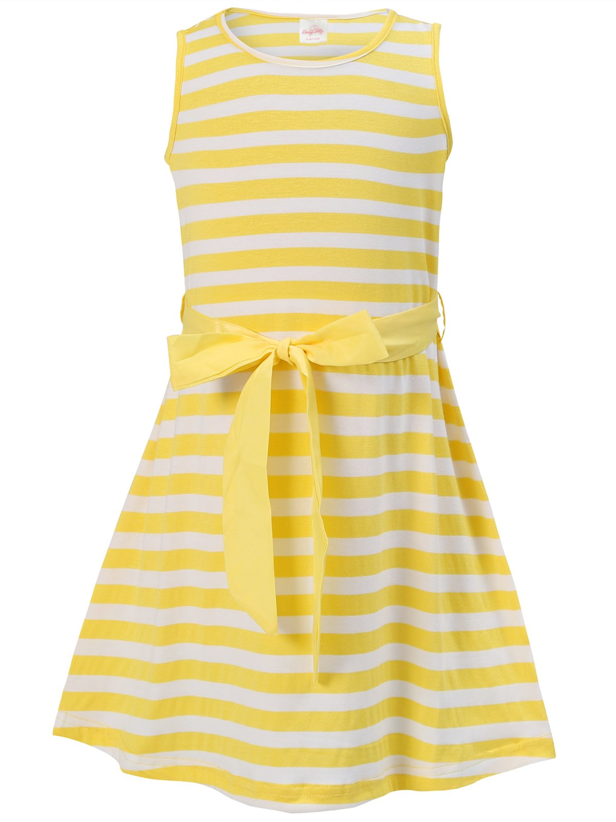 Bonny Billy Girls' Back to School Stripe Knit Dress with Removable Sash 10-11 Years Yellow
