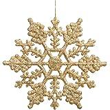 Vickerman Plastic Glitter Snowflake, 4-Inch, Gold, 24 Per Box