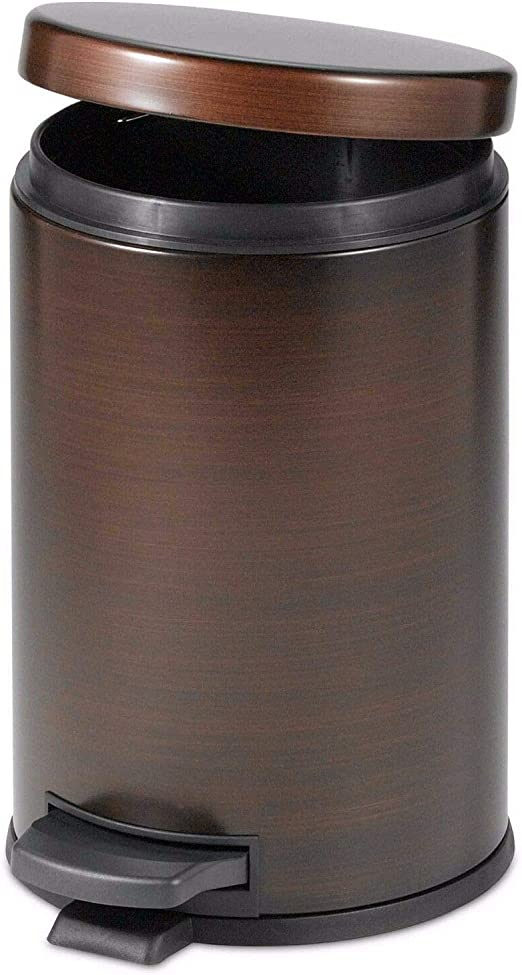 Waste Garbage Basket Trash Can 1 1//2 Gallon For Bathroom with Swing Lid Bronze