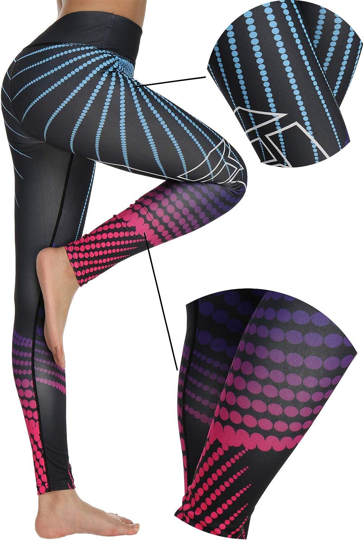 FITTOO Leggins Sportivi Donna 3D Stampa Pantaloni Push Up Pants Collant Elastico Cuore per Fitness Gym Yoga