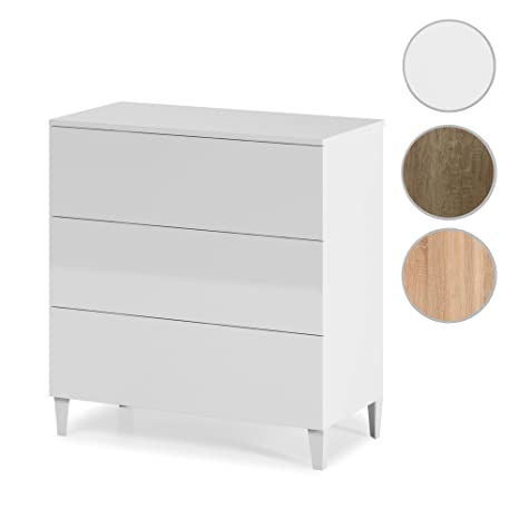 Habitdesign 007833BO - Comoda estilo nórdico, acabado blanco brillo , medida 80 x 80 x 40