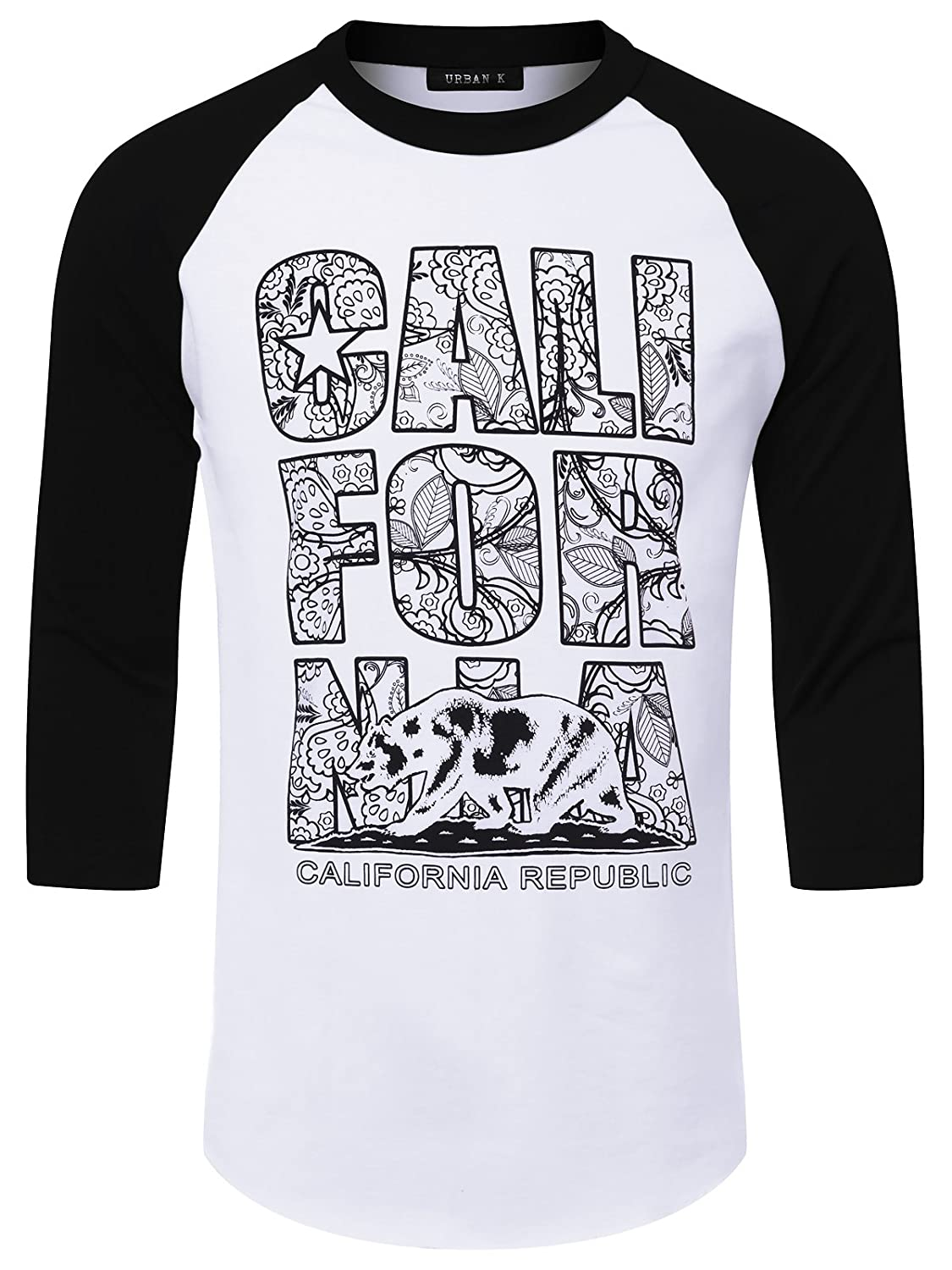 Amazon Urban K Mens Graphic Print Raglan Baseball T Shirt