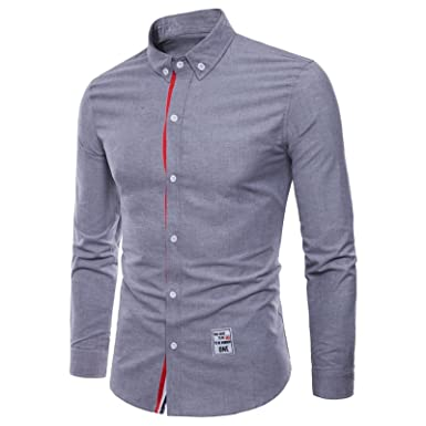 2095c8552 WSLCN Men s Formal Business Shirt Cotton Long Sleeve Casual Shirt Slim Fit  Solid Button Down Collar