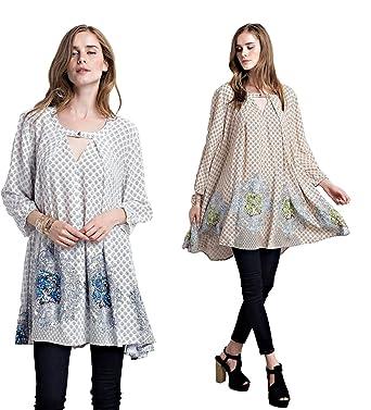38b908735 Jodifl Women s Bohemian Retro Vintage Peasant Boho Chic Tunic Top Blouse at  Amazon Women s Clothing store