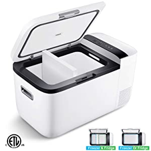 ICECO GO20 12V Dual Zone Portable Refrigerator, Separate Control, 21 Quart/20 Liter, DC & AC, 0℉ to 50℉, with Danfoss Compressor, Small Fridge Freezer Cooler for Outdoor, Home Use, Car Camping(White)