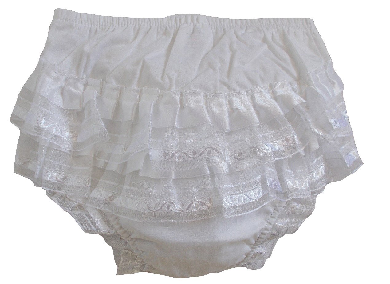 White Cotton Frill Back Knickers Nappy Cover Pants Lace and Ribbons Design (12-18 Months) Soft Touch