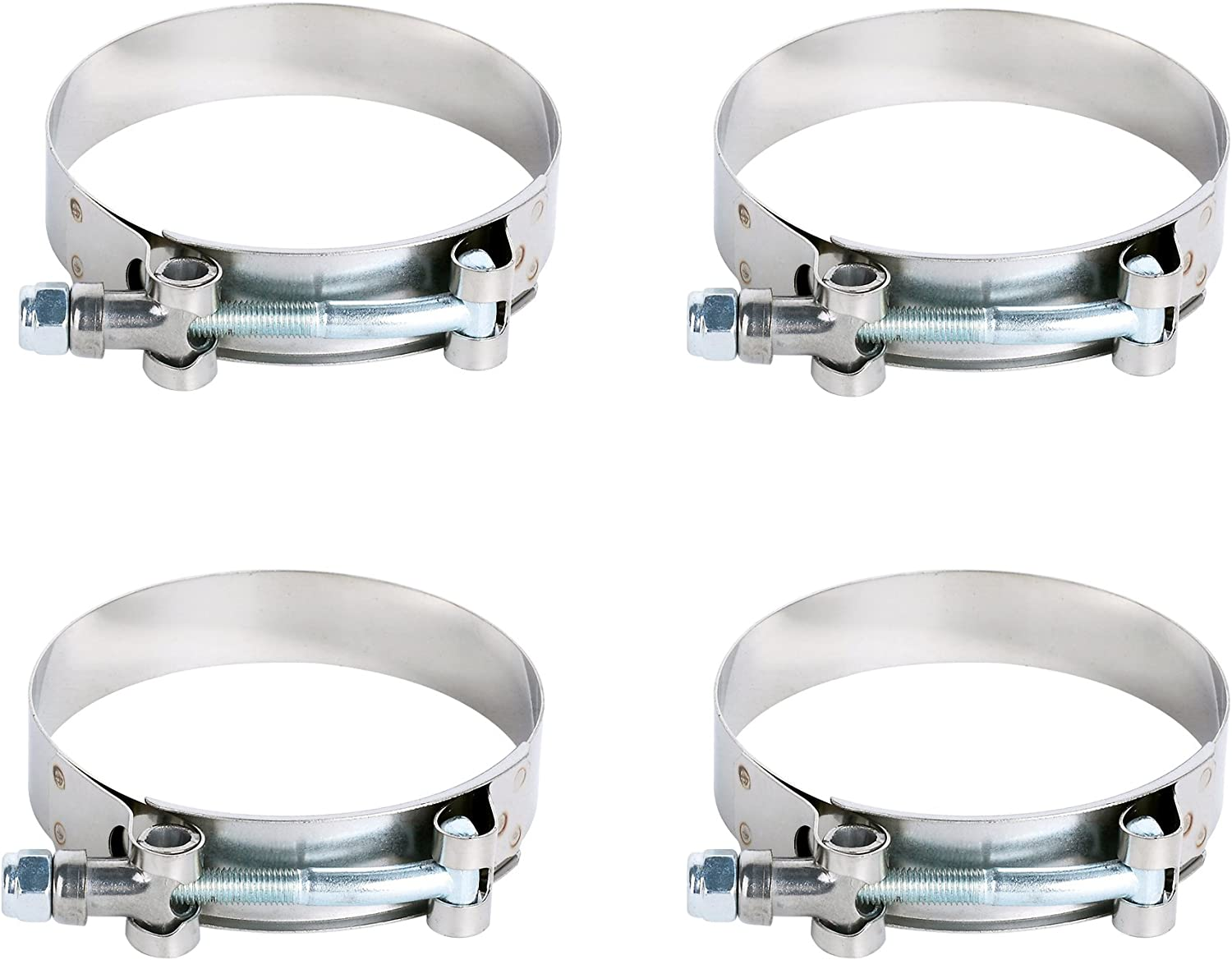 Pack of 4pcs Stainless Steel 70-80MM T-Bolt Clamp for Turbo Silicone Intercooler Intake Hose Clamp for 2.75 Hose