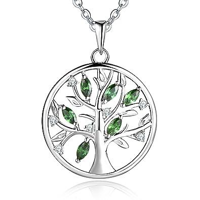 Collier pendentif arbre de vie avec émeraude de couleur verte et pierre zircon