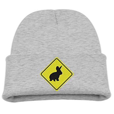 Aohaiqul Warning Sign Bunny Rabbit - 2 Colors Top Level Unisex Beanie Hat For Cute Baby Boy/Girl Soft Toddler Infant Cap