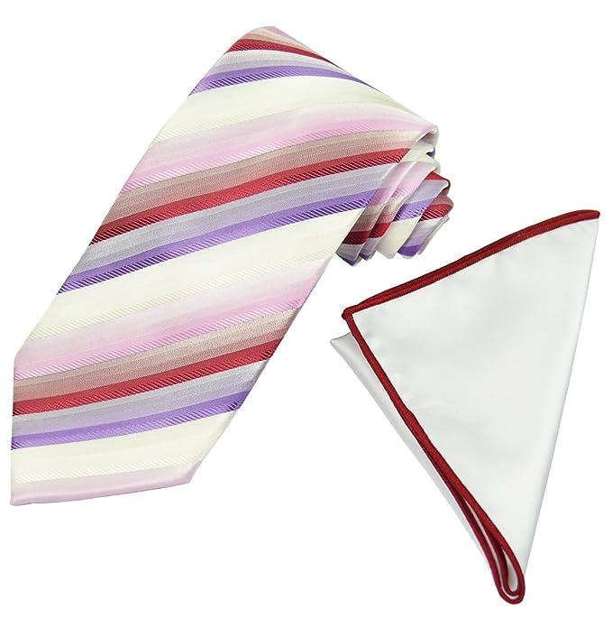 Amazon.com: Rojo, Blanco y morado diseño de rayas corbata de ...