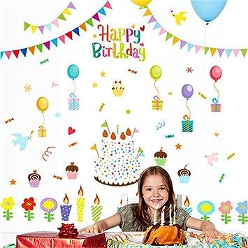 Amazon.com: Feliz Cumpleaños Calcomanía de pared Ventana ...