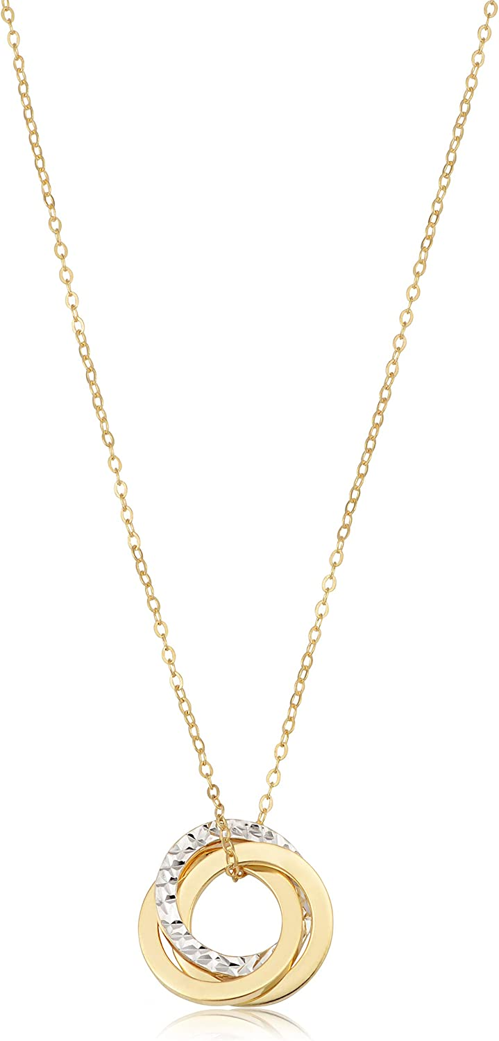 14k Two-tone Gold Polished Textured Love Knot Pendant