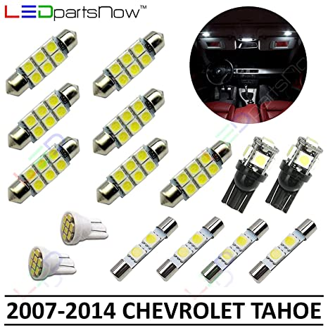 amazon com: ledpartsnow interior led lights replacement for 2007-2014 chevy  tahoe and suburban accessories package kit (15 bulbs), white: automotive