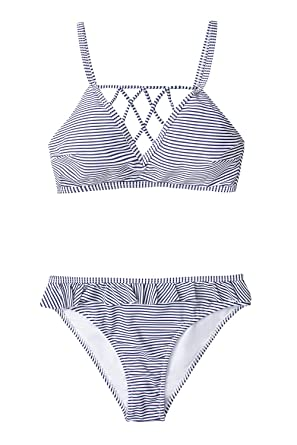 Amazon com: CUPSHE Women's Blue White Stripe Crisscross