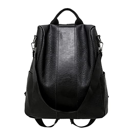 Amazon.com | Pu Leather Backpack Women Patchwork Casual Daypacks Female Anti-Theft Backpacks Teenage Girls Shoulder Black 31X15X32Cm | Casual Daypacks