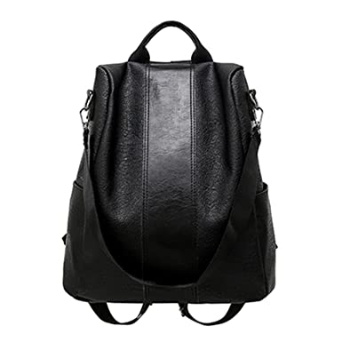 Pu Leather Backpack Women Patchwork Casual Daypacks Female Anti-Theft Backpacks Teenage Girls Shoulder Black