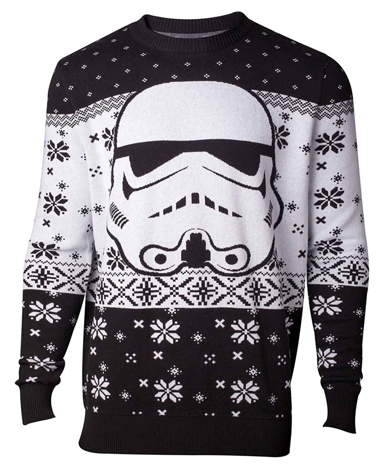Star Wars Christmas Jumper Sweater Stormtrooper Head Official Mens Knitted Star Wars Merch